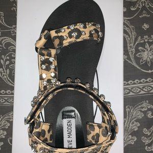 Steve Madden leopard rhinestone sandals. Size 8